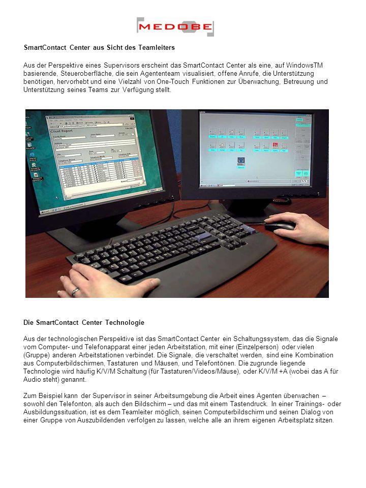 Arbeitsplatzverbindungen Das SmartContact Center ist ein externes Hardwaresystem, was bedeutet, dass keine Hardware- oder Softwaremodule an den Arbeitsplätzen installiert werden müssen.