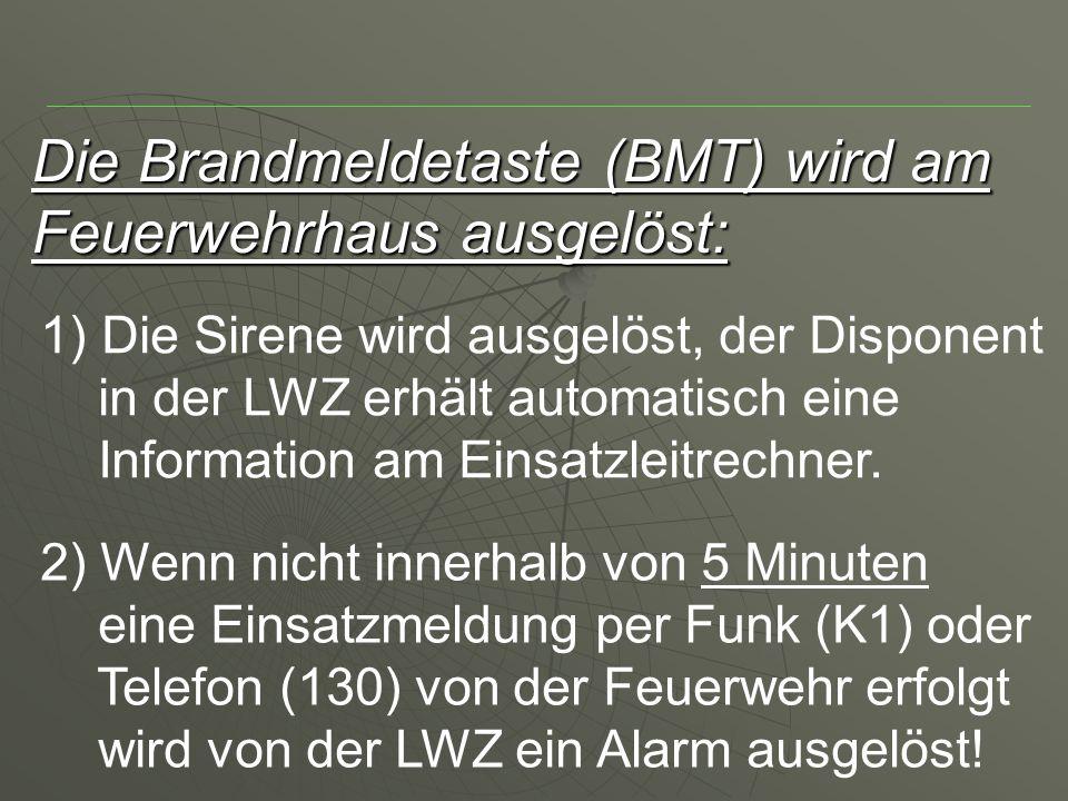 Die Brandmeldetaste (BMT) wird am Feuerwehrhaus ausgelöst: 1) Die Sirene wird ausgelöst, der Disponent in der LWZ erhält automatisch eine Information am Einsatzleitrechner.