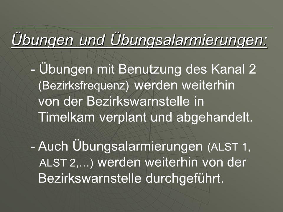 Übungen und Übungsalarmierungen: - Übungen mit Benutzung des Kanal 2 (Bezirksfrequenz) werden weiterhin von der Bezirkswarnstelle in Timelkam verplant und abgehandelt.