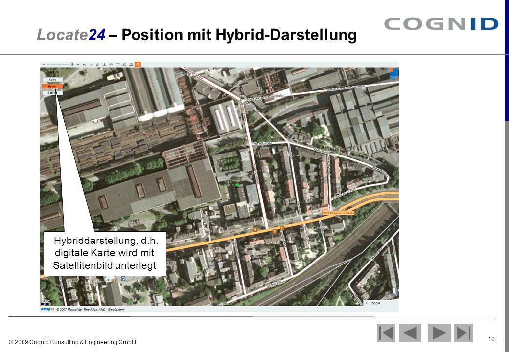 © 2009 Cognid Consulting & Engineering GmbH 10 Locate24 – Position mit Hybrid-Darstellung Hybriddarstellung, d.h. digitale Karte wird mit Satellitenbi