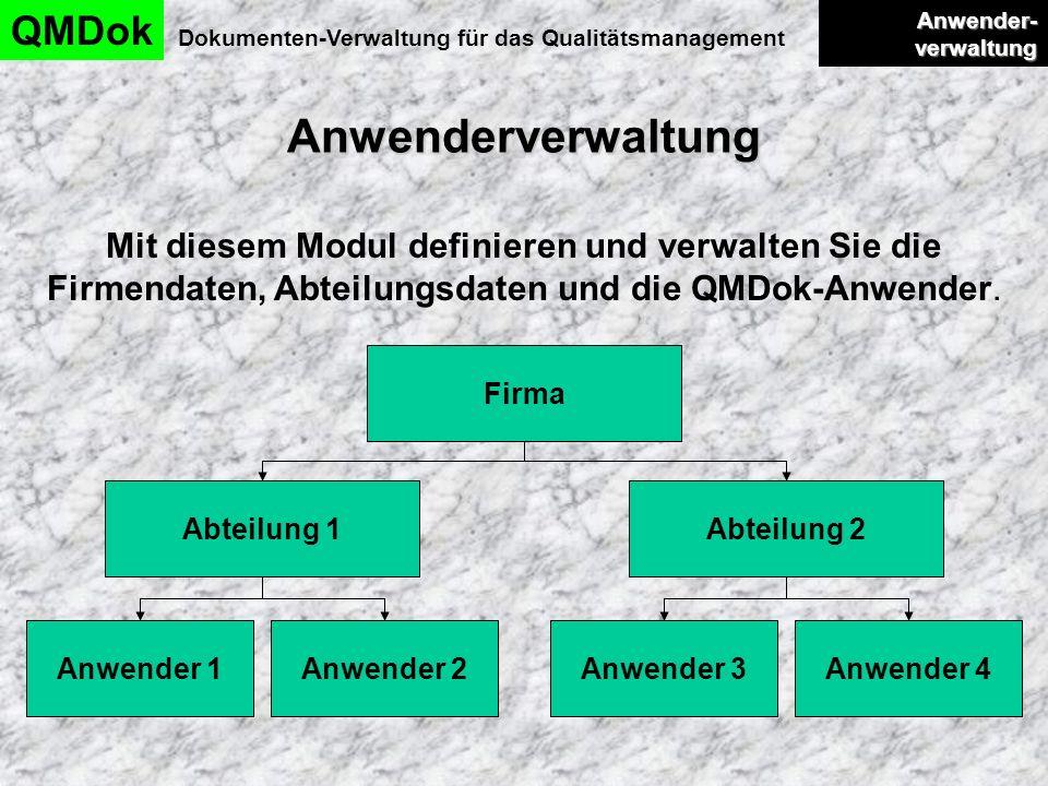 Anwenderverwaltung QMDok Dokumenten-Verwaltung für das Qualitätsmanagement Anwender- verwaltung Anwender- verwaltung Mit diesem Modul definieren und v