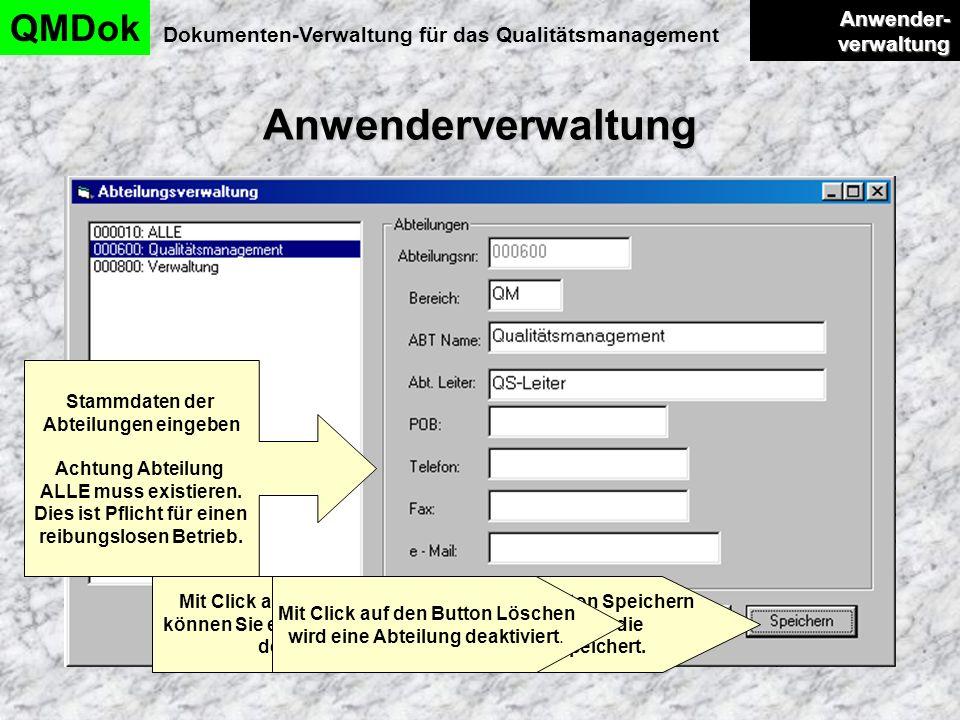Anwenderverwaltung QMDok Dokumenten-Verwaltung für das Qualitätsmanagement Anwender- verwaltung Anwender- verwaltung Stammdaten der Abteilungen eingeb