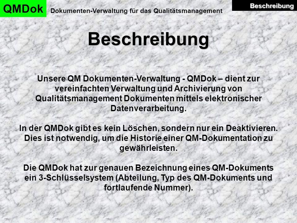 Dokumentenverwaltung QMDok Dokumenten-Verwaltung für das Qualitätsmanagement Dokumenten- verwaltung Dokumenten- verwaltung Ein neues QM-Dokument anlegen