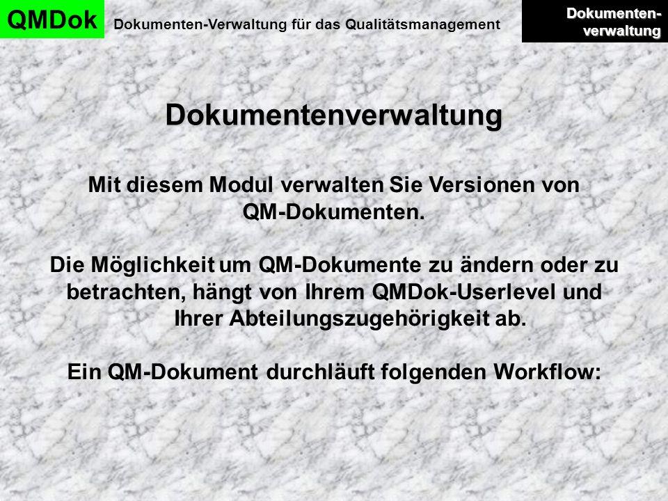 Dokumentenverwaltung QMDok Dokumenten-Verwaltung für das Qualitätsmanagement Dokumenten- verwaltung Dokumenten- verwaltung Mit diesem Modul verwalten