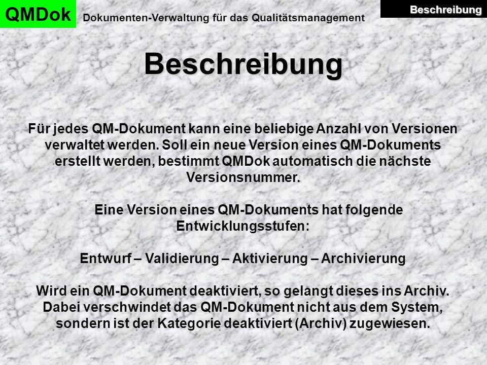 Beschreibung QMDok Dokumenten-Verwaltung für das Qualitätsmanagement Für jedes QM-Dokument kann eine beliebige Anzahl von Versionen verwaltet werden.