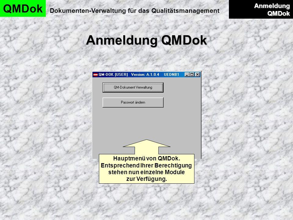 Anmeldung QMDok QMDok Dokumenten-Verwaltung für das Qualitätsmanagement Anmeldung QMDok Anmeldung QMDok Hauptmenü von QMDok. Entsprechend Ihrer Berech