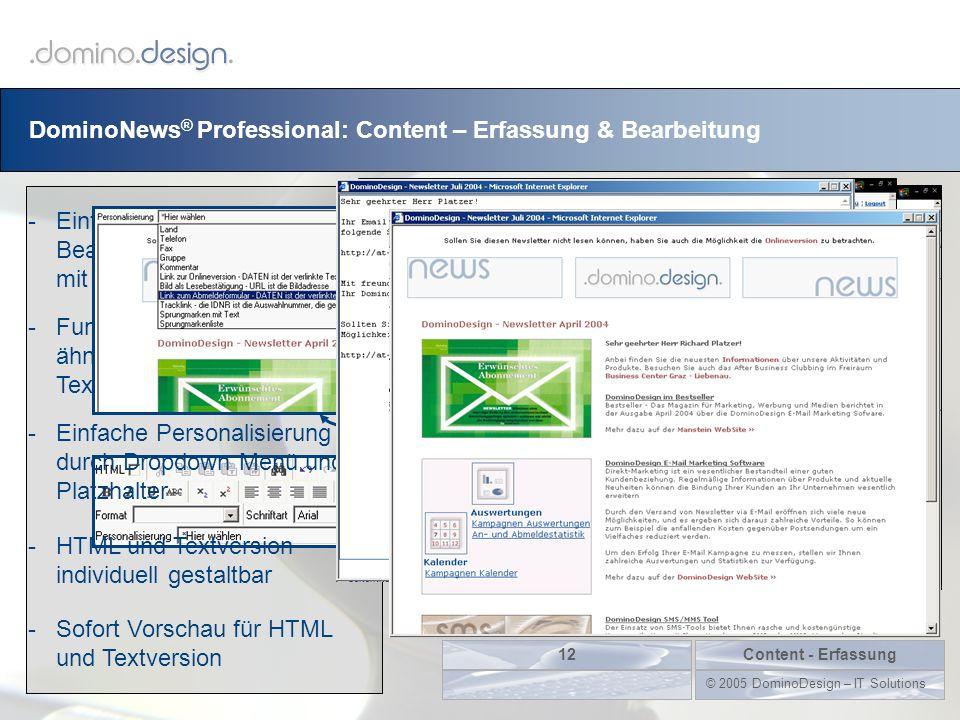 DominoNews ® Professional: Content – Erfassung & Bearbeitung Content - Erfassung12 © 2005 DominoDesign – IT Solutions -Einfache Erstellung und Bearbei