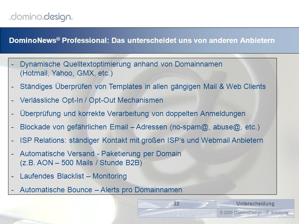 DominoNews ® Professional: Das unterscheidet uns von anderen Anbietern Unterscheidung22 © 2005 DominoDesign – IT Solutions -Dynamische Quelltextoptimi