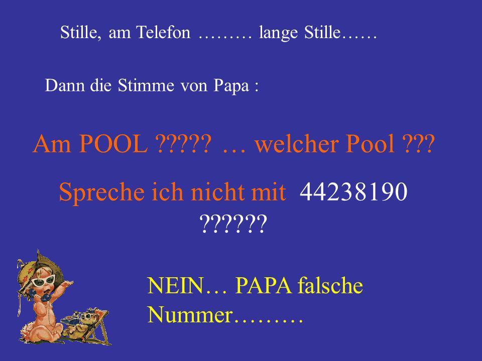 Stille, am Telefon ……… lange Stille…… Dann die Stimme von Papa : Am POOL ????? … welcher Pool ??? Spreche ich nicht mit 44238190 ?????? NEIN… PAPA fal