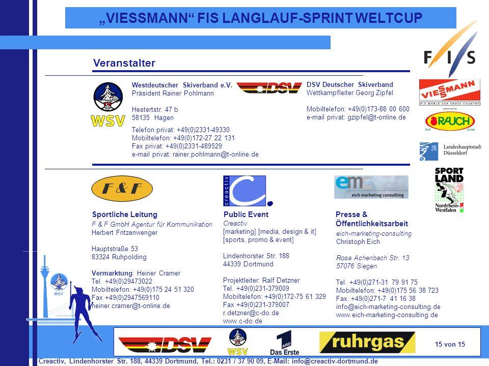 Creactiv, Lindenhorster Str. 188, 44339 Dortmund, Tel.: 0231 / 37 90 09, E-Mail: info@creactiv-dortmund.de 15 von 15 VIESSMANN FIS LANGLAUF-SPRINT WEL
