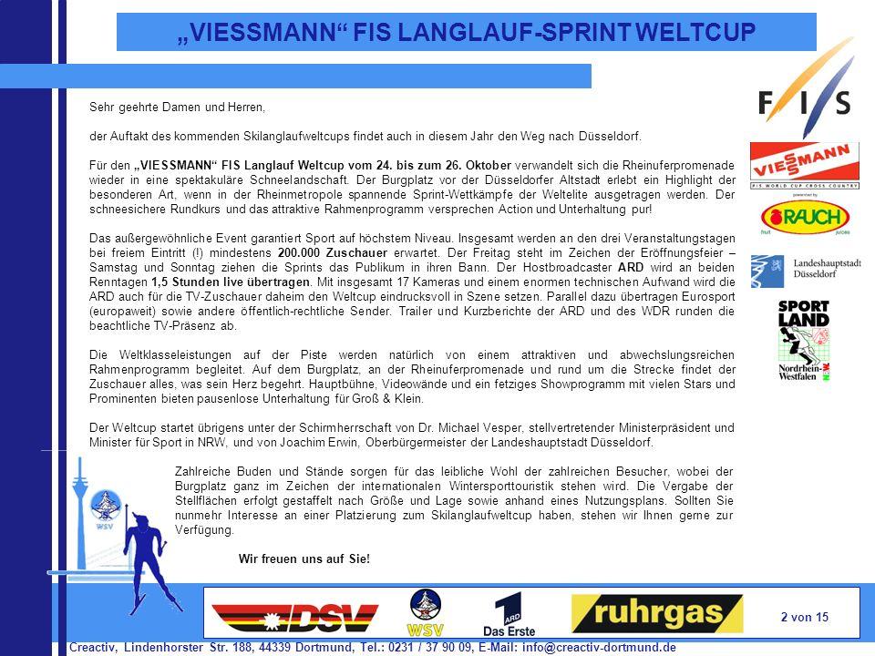 Creactiv, Lindenhorster Str. 188, 44339 Dortmund, Tel.: 0231 / 37 90 09, E-Mail: info@creactiv-dortmund.de 2 von 15 VIESSMANN FIS LANGLAUF-SPRINT WELT