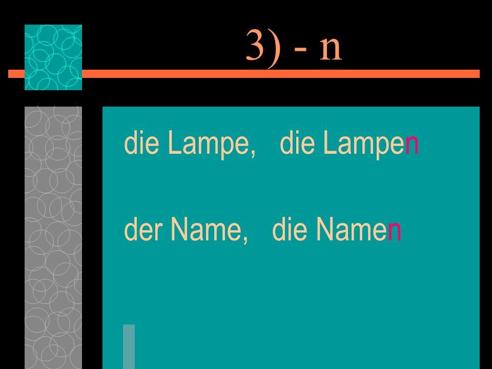 3) - n die Lampe, die Lampen der Name, die Namen