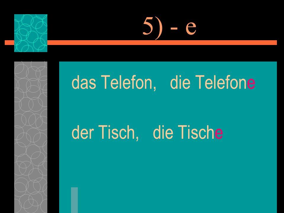 5) - e das Telefon, die Telefone der Tisch, die Tische