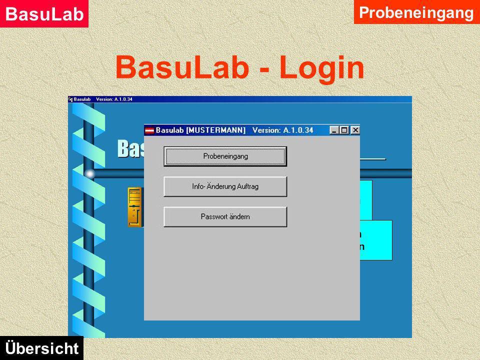 BasuLab - Login Probeneingang Nach dem erfolgreichen Anmelden des Anwenders bei BasuLab, werden ihm seine zugewiesenen Module angezeigt. BasuLab Übers