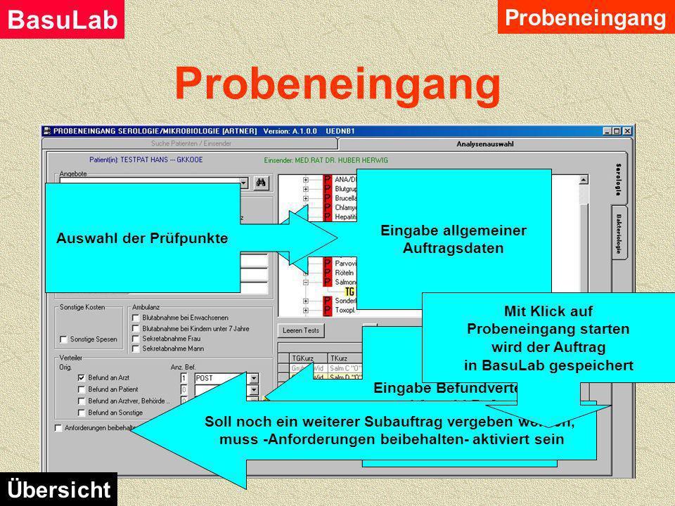 Bestimmung von Kostenträger und Einsender Mit Klick auf Weiter zur Analysenauswahl Eingabe bestätigen Probeneingang BasuLab Übersicht