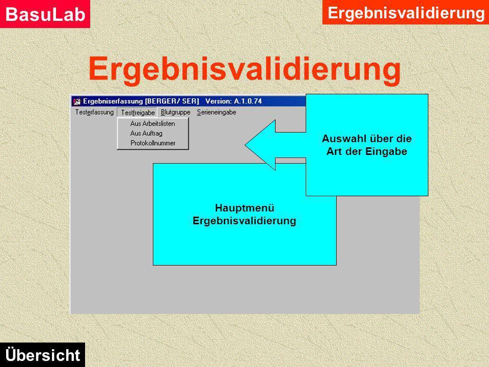 Ergebnisvalidierung BasuLab Übersicht Hier werden eingegebene Prüfpunkte auf ihre Richtigkeit der Eingabe kontrolliert und bestätigt. Der Ablauf erfol