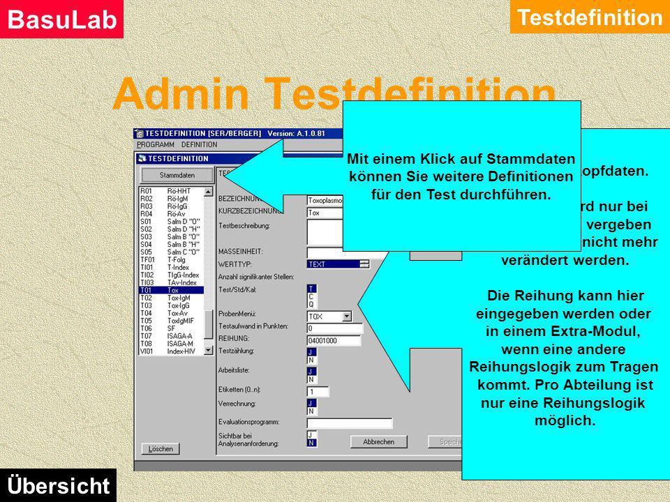 Admin Testdefinition Testdefinition BasuLab Übersicht Die Liste der bereits definierten Tests. Sichtbar sind hier nur die Tests der Abteilung, für die