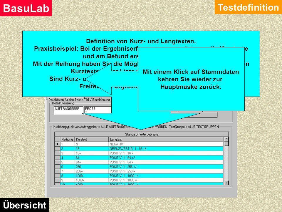 Admin Testdefinition Testdefinition BasuLab Übersicht Hier können Sie Grenzwerte definieren. Weiters auch noch Zusatztexte, die bei Grenzwertverletzun