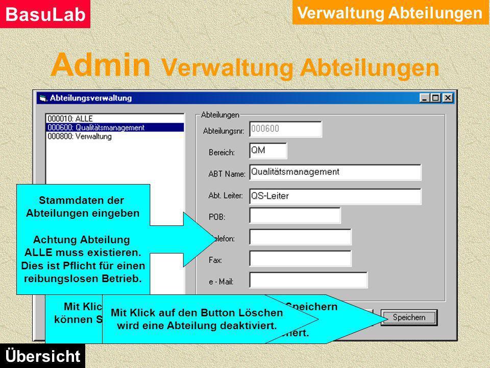 Admin Verwaltung Firmendaten Verwaltung Firmendaten BasuLab Übersicht Stammdaten der Firma eingeben Mit einem Klick auf den Button Speichern, werden d