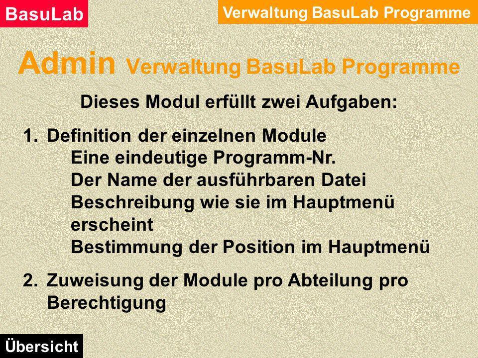 Admin Verwaltung Anwender Verwaltung Anwender BasuLab Übersicht Stammdaten der Anwender eingeben. Der Nachname muss in Grossbuchstaben eingegeben werd