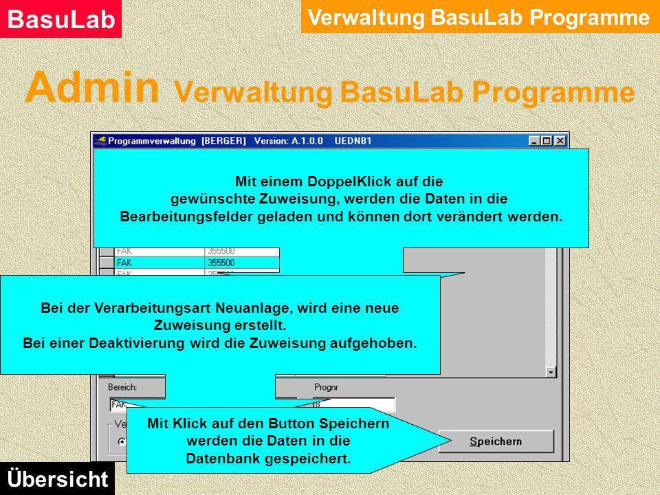 Admin Verwaltung BasuLab Programme Verwaltung BasuLab Programme BasuLab Übersicht Mit einem DoppelKlick auf das gewünschte Programm, werden die Daten