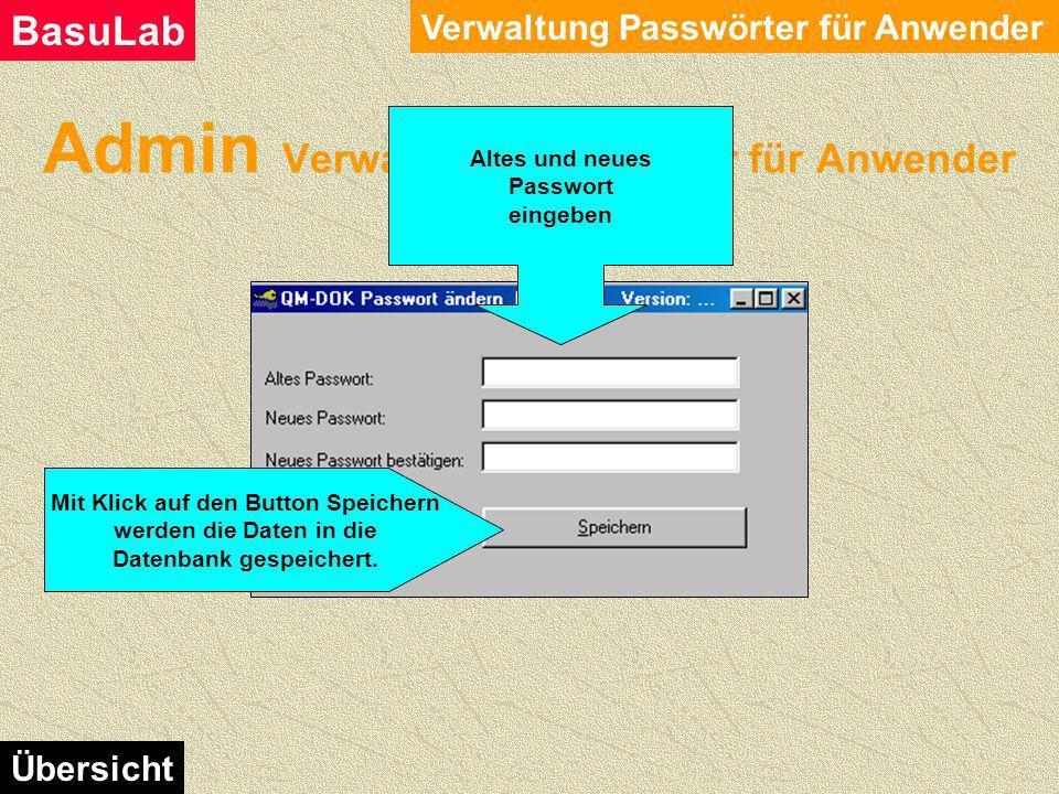 Admin Verwaltung Passwörter für Anwender Verwaltung Passwörter für Anwender BasuLab Übersicht Mit diesem Modul kann der Anwender sein eigenes Passwort