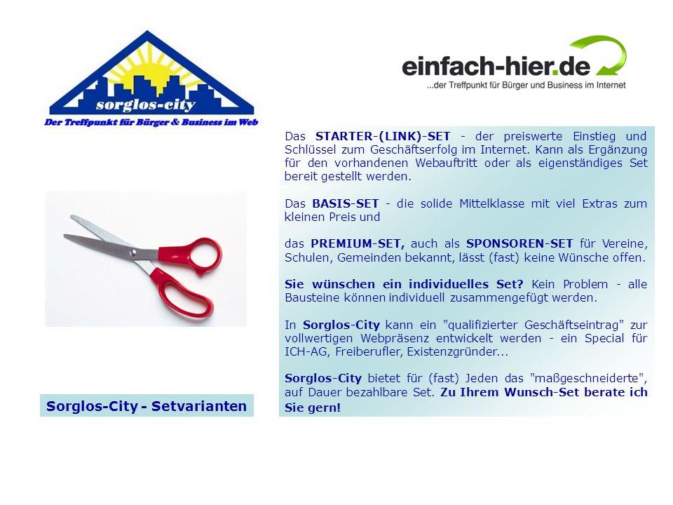 Das STARTER-(LINK)-SET - der preiswerte Einstieg und Schlüssel zum Geschäftserfolg im Internet.