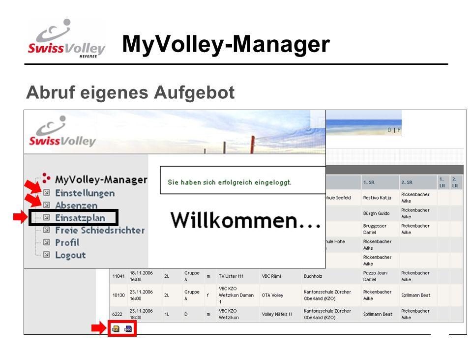 17 MyVolley-Manager Abruf eigenes Aufgebot