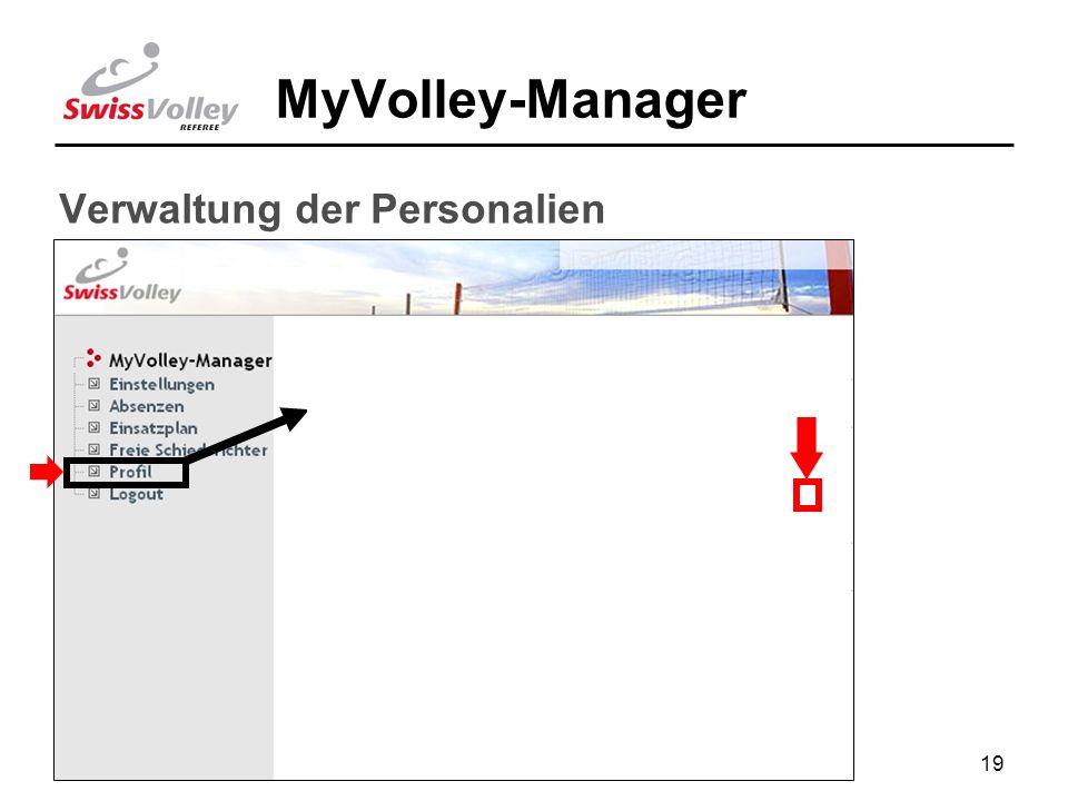 19 MyVolley-Manager Verwaltung der Personalien