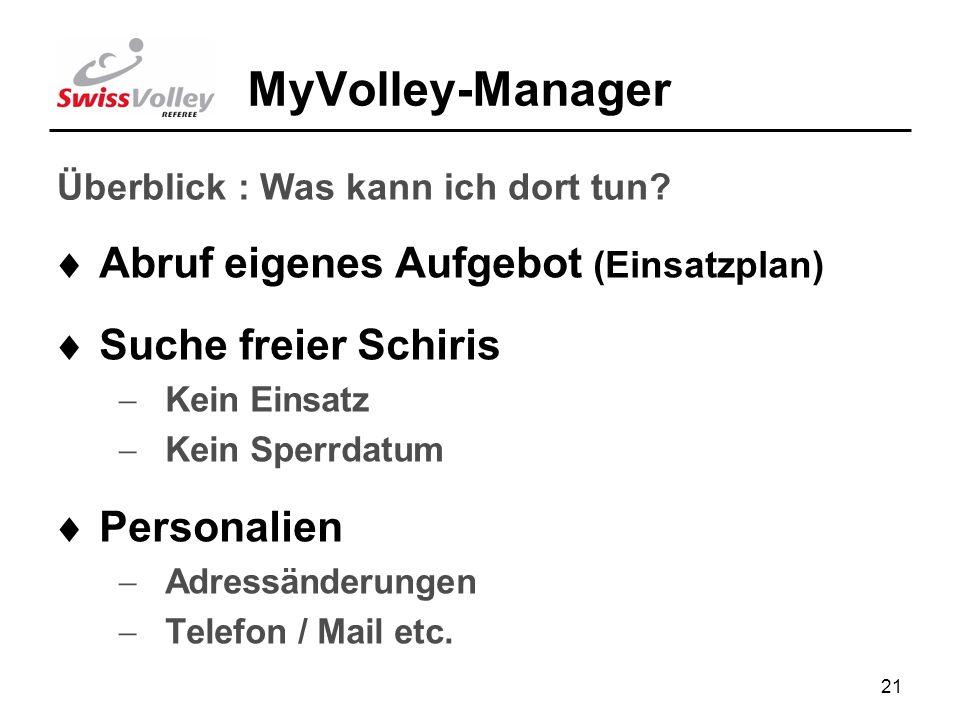 21 MyVolley-Manager Abruf eigenes Aufgebot (Einsatzplan) Suche freier Schiris Kein Einsatz Kein Sperrdatum Personalien Adressänderungen Telefon / Mail etc.