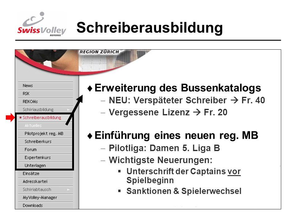 7 Schreiberausbildung Erweiterung des Bussenkatalogs NEU: Verspäteter Schreiber Fr. 40 Vergessene Lizenz Fr. 20 Einführung eines neuen reg. MB Pilotli