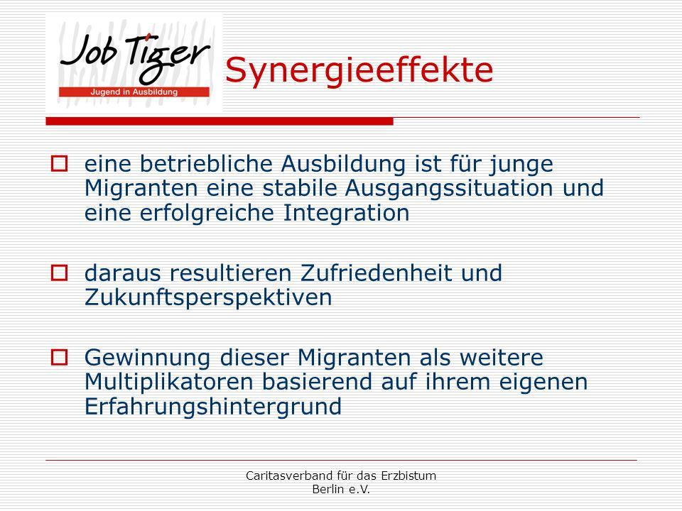 Caritasverband für das Erzbistum Berlin e.V. Synergieeffekte eine betriebliche Ausbildung ist für junge Migranten eine stabile Ausgangssituation und e