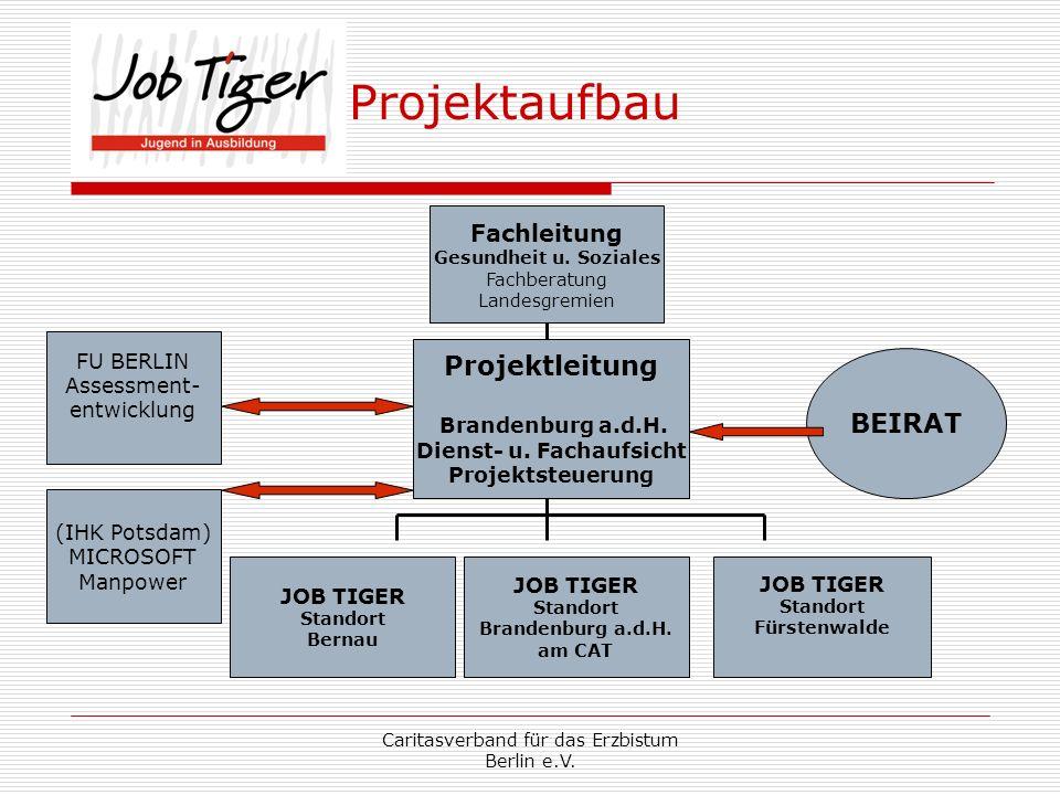 Caritasverband für das Erzbistum Berlin e.V. Projektaufbau Projektleitung Brandenburg a.d.H. Dienst- u. Fachaufsicht Projektsteuerung JOB TIGER Stando