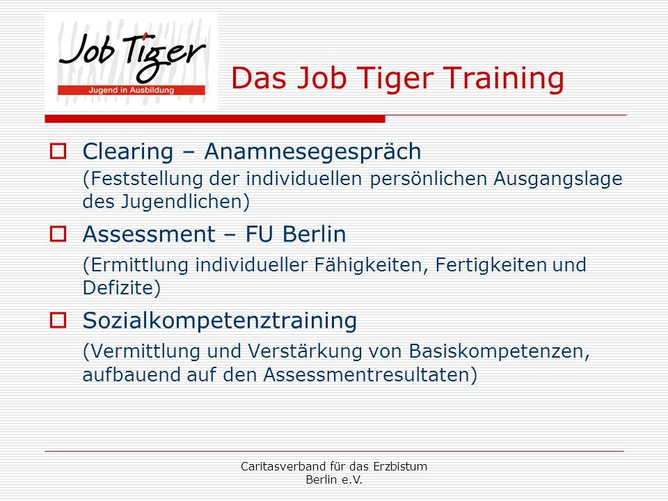 Caritasverband für das Erzbistum Berlin e.V. Das Job Tiger Training Clearing – Anamnesegespräch (Feststellung der individuellen persönlichen Ausgangsl
