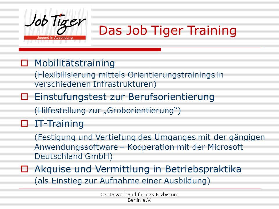 Caritasverband für das Erzbistum Berlin e.V. Das Job Tiger Training Mobilitätstraining (Flexibilisierung mittels Orientierungstrainings in verschieden