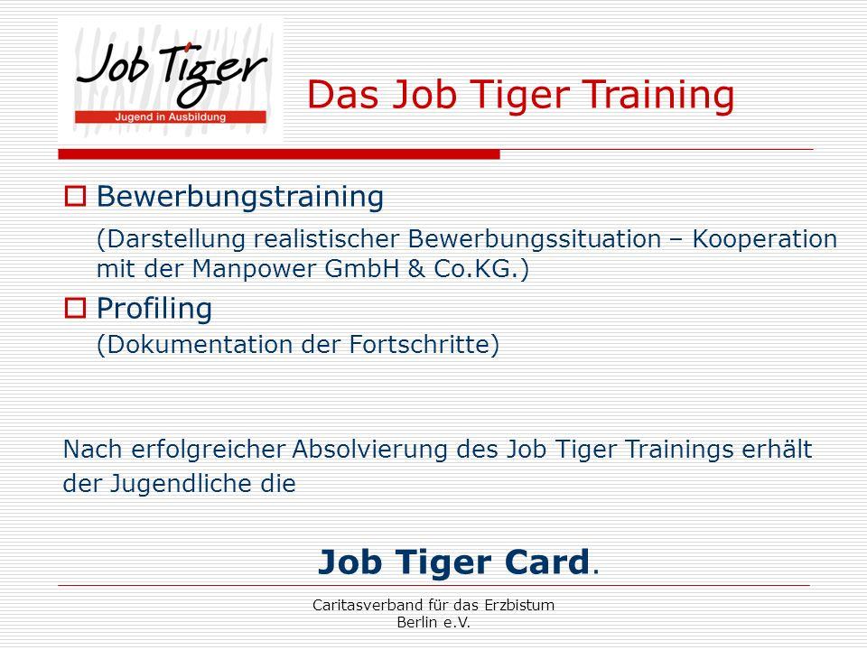 Caritasverband für das Erzbistum Berlin e.V. Das Job Tiger Training Bewerbungstraining (Darstellung realistischer Bewerbungssituation – Kooperation mi