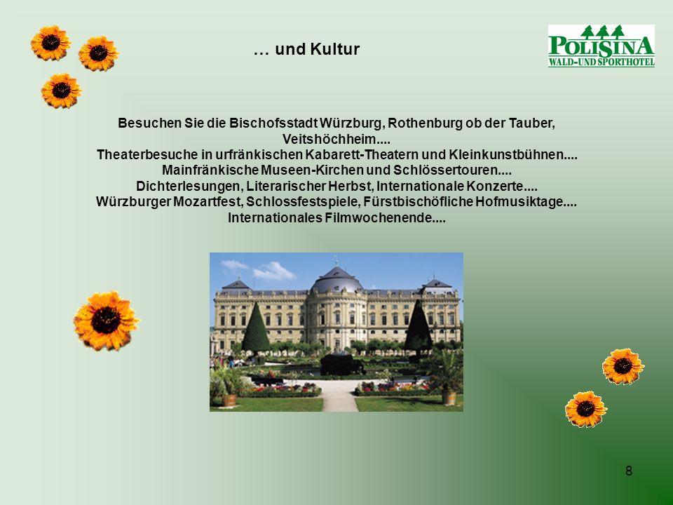 8 Besuchen Sie die Bischofsstadt Würzburg, Rothenburg ob der Tauber, Veitshöchheim.... Theaterbesuche in urfränkischen Kabarett-Theatern und Kleinkuns