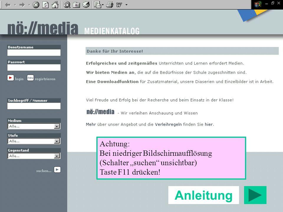 Anleitung Achtung: Bei niedriger Bildschirmaufflösung (Schalter suchen unsichtbar) Taste F11 drücken!