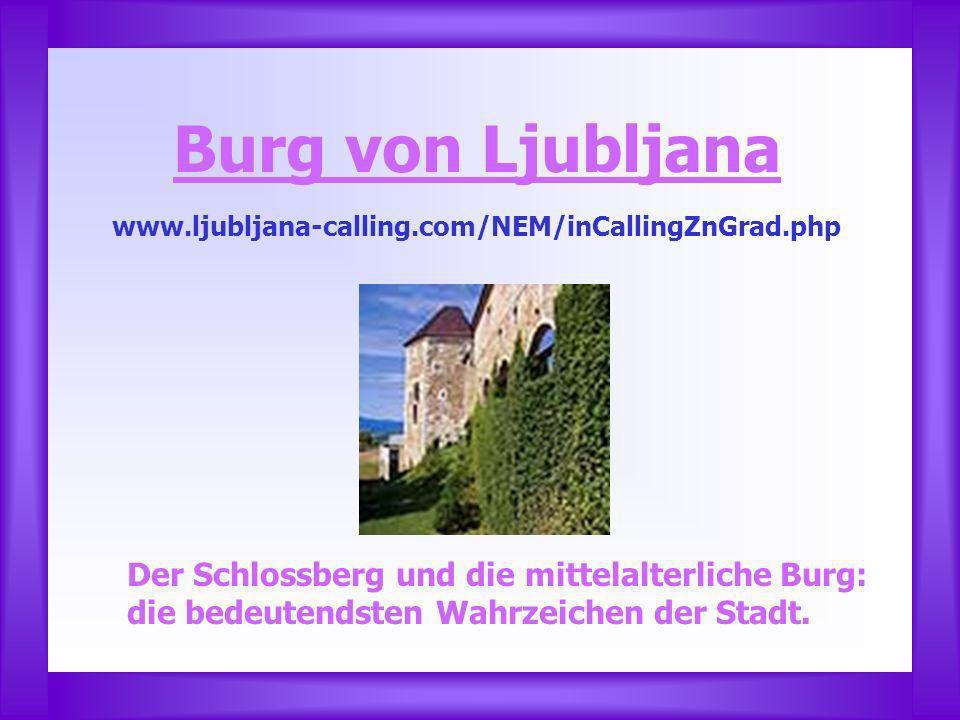Burg von Ljubljana www.ljubljana-calling.com/NEM/inCallingZnGrad.php Der Schlossberg und die mittelalterliche Burg: die bedeutendsten Wahrzeichen der Stadt.