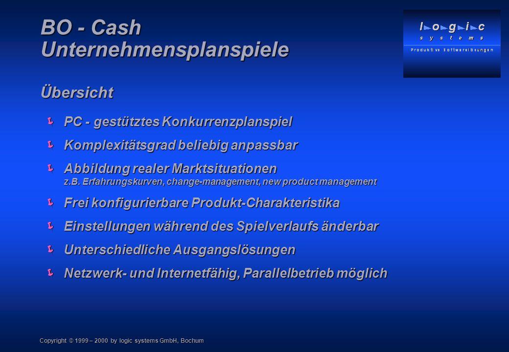Copyright © 1999 – 2000 by logic systems GmbH, Bochum PC - gestütztes Konkurrenzplanspiel PC - gestütztes Konkurrenzplanspiel Komplexitätsgrad beliebi