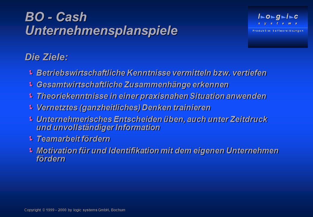 Copyright © 1999 – 2000 by logic systems GmbH, Bochum BO - Cash Unternehmensplanspiele Was macht ein Unternehmensplanspiel so erfolgreich.