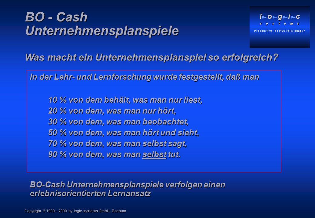Copyright © 1999 – 2000 by logic systems GmbH, Bochum BO - Cash Unternehmensplanspiele Was macht ein Unternehmensplanspiel so erfolgreich? In der Lehr