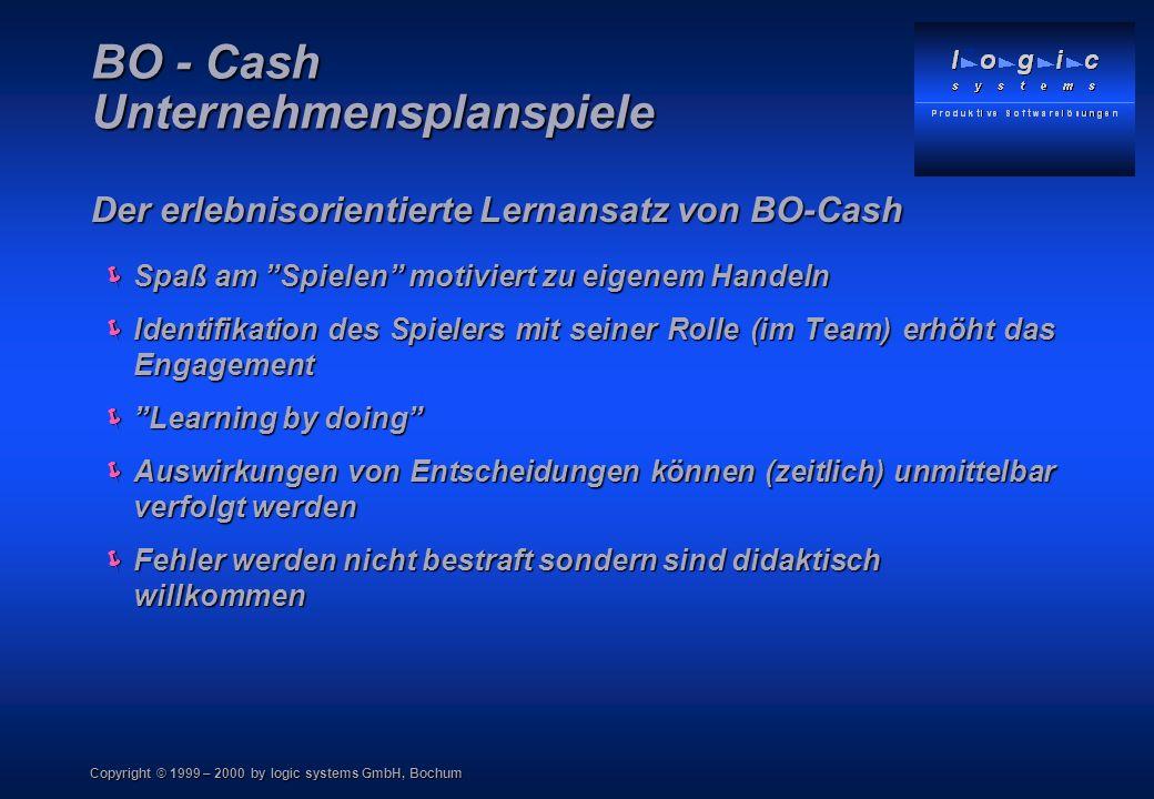 Copyright © 1999 – 2000 by logic systems GmbH, Bochum BO - Cash Unternehmensplanspiele Der erlebnisorientierte Lernansatz von BO-Cash Spaß am Spielen motiviert zu eigenem Handeln Spaß am Spielen motiviert zu eigenem Handeln Identifikation des Spielers mit seiner Rolle (im Team) erhöht das Engagement Identifikation des Spielers mit seiner Rolle (im Team) erhöht das Engagement Learning by doing Learning by doing Auswirkungen von Entscheidungen können (zeitlich) unmittelbar verfolgt werden Auswirkungen von Entscheidungen können (zeitlich) unmittelbar verfolgt werden Fehler werden nicht bestraft sondern sind didaktisch willkommen Fehler werden nicht bestraft sondern sind didaktisch willkommen
