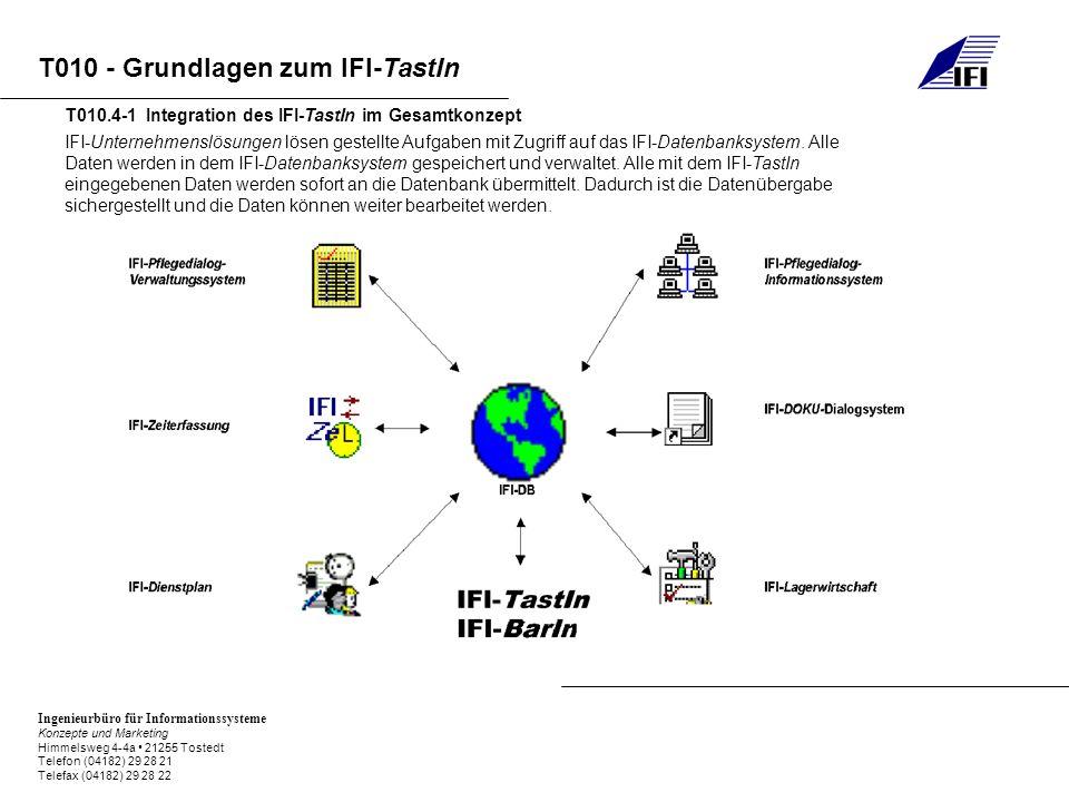Ingenieurbüro für Informationssysteme Konzepte und Marketing Himmelsweg 4-4a 21255 Tostedt Telefon (04182) 29 28 21 Telefax (04182) 29 28 22 T010 - Grundlagen zum IFI-TastIn IFI-Unternehmenslösungen lösen gestellte Aufgaben mit Zugriff auf das IFI-Datenbanksystem.