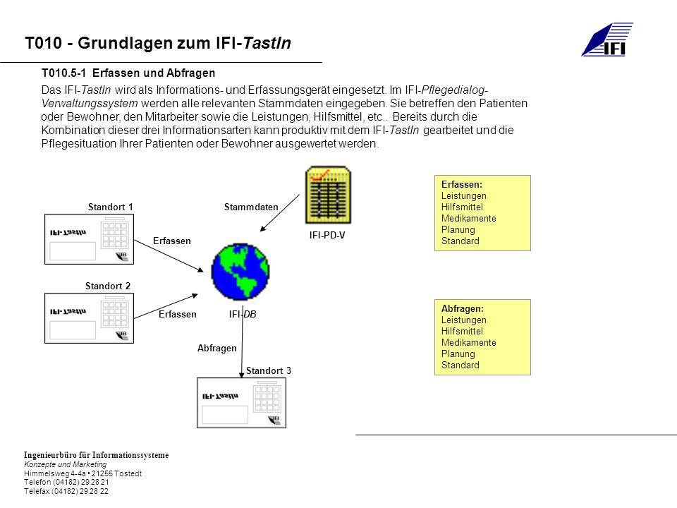 Ingenieurbüro für Informationssysteme Konzepte und Marketing Himmelsweg 4-4a 21255 Tostedt Telefon (04182) 29 28 21 Telefax (04182) 29 28 22 T010 - Grundlagen zum IFI-TastIn Das IFI-TastIn wird als Informations- und Erfassungsgerät eingesetzt.