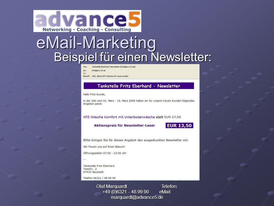 Olaf Marquardt Telefon: +49 (0)6321 - 48.99.90 eMail: marquardt@advance5.de eMail-Marketing Werden Sie Partner von Gekkoos Crossmedia International mit -eigener -personalisierter -Portalseite über die Sie die kostenfreie eMail-Adresse verschenken!