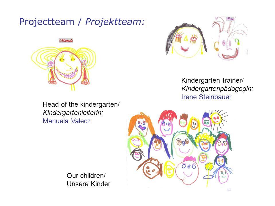 Projectteam / Projektteam: Kindergarten trainer/ Kindergartenpädagogin: Irene Steinbauer Head of the kindergarten/ Kindergartenleiterin: Manuela Valecz Our children/ Unsere Kinder