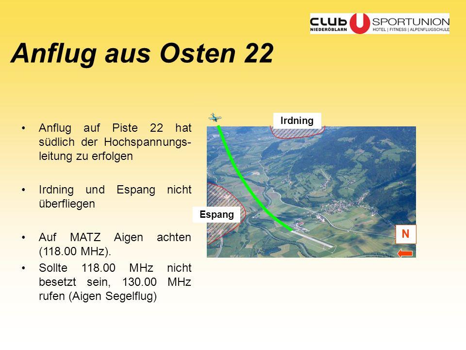 Espang Anflug aus Osten 22 Irdning N Anflug auf Piste 22 hat südlich der Hochspannungs- leitung zu erfolgen Irdning und Espang nicht überfliegen Auf M