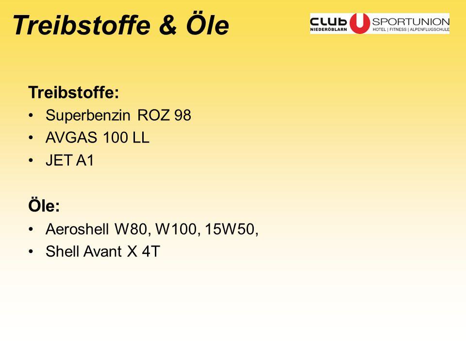 Treibstoffe & Öle Treibstoffe: Superbenzin ROZ 98 AVGAS 100 LL JET A1 Öle: Aeroshell W80, W100, 15W50, Shell Avant X 4T