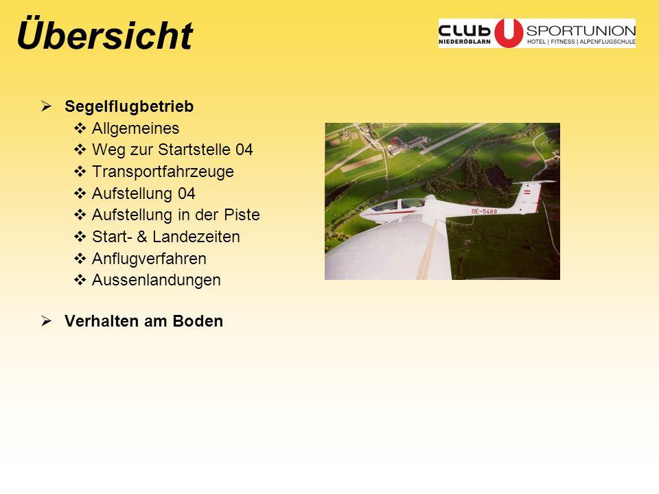 Übersicht Segelflugbetrieb Allgemeines Weg zur Startstelle 04 Transportfahrzeuge Aufstellung 04 Aufstellung in der Piste Start- & Landezeiten Anflugve